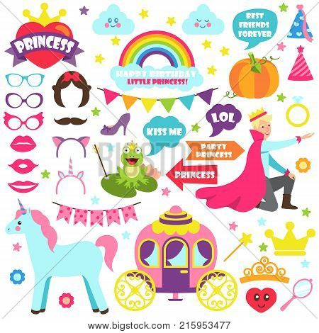 Fairy tale carnival set of icons of coach, prince unicorn, crowns and masks. Vector illustration with magic creatures and festive decorations on white