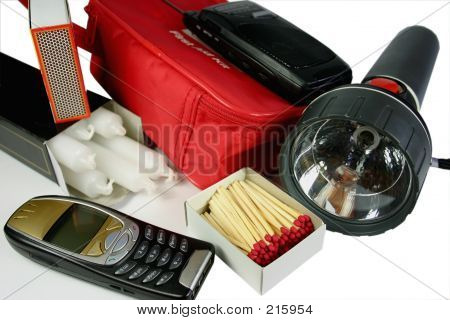 items for emergency or power outage kit - mobile phone, candles, matches, torch, first aid, battery radio poster