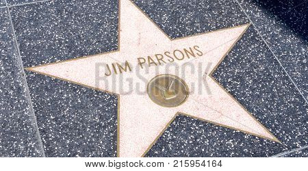 LOS ANGELES USA - AUGUST 20 2017: Actor Jim Parson's star in the Hollywood Walk of Fame. Parson received the star in 2015. Editorial.