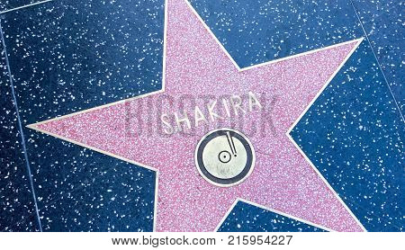 LOS ANGELES USA - AUGUST 20 2017: Singer Shakira's star in the Hollywood Walk of Fame. Shakira received the star in 2011. Editorial.