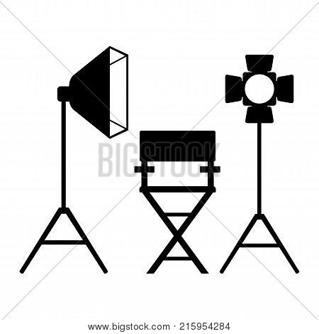Cinema icon. Film director chair in videoproduction. Flat vector cartoon illustration. Objects isolated on a white background.