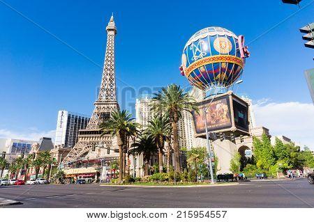 LAS VEGAS USA - AUGUST 22 2017: The Paris Las Vegas Hotel & Casino. The hotel was opened in 1999. Editorial.