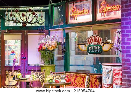 LOS ANGELES USA - AUGUST 24 2017: Central Perk cafe in the Warner Bros Studio Tour in Burbank. Central Perk was one of the main locations in the popular 90s tv series Friends. Editorial.
