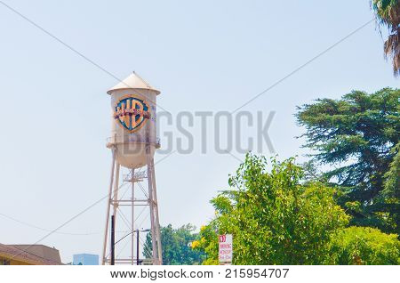 LOS ANGELES USA - AUGUST 24 2017: The famous water tower of Warner Brothers in Burbank. Warner Bros is an American entertainment company. Editorial.