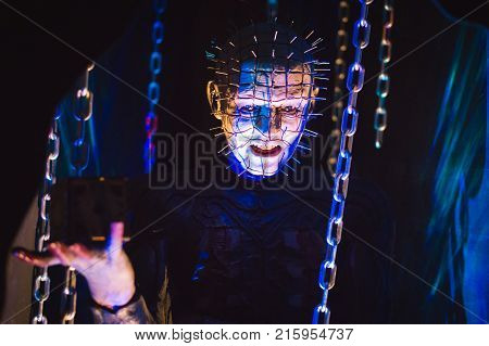 LOS ANGELES USA - AUGUST 25 2017: Hellraiser in Hollywood Wax Museum. The British horror movie was released in 1987. Editorial.