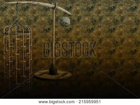 Grunge background with a torture cage. 3D Illustration.