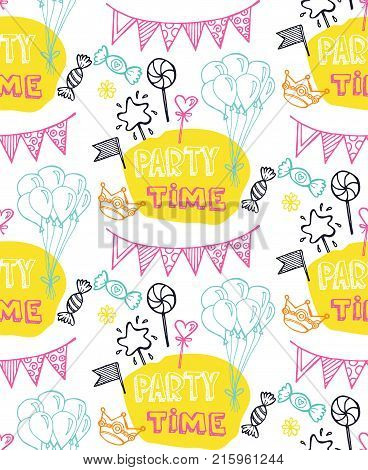 Hand drawn doodle party time set . Pattern