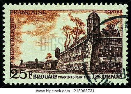 Moscow Russia - November 28 2017: A stamp printed in France shows old fortifications in Brouage Bay of Biscay France series