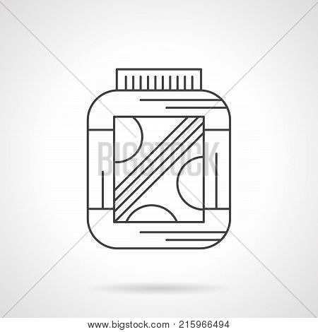 Symbol of jar with amino protein supplements. Sport nutrition for health and fitness. Flat black line vector icon.