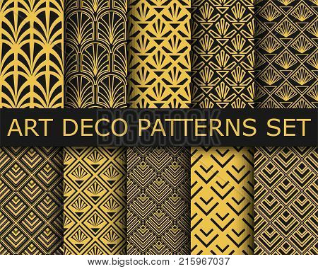 Collection Of Art-deco Ornamental Seamless Patterns. Set Of Ten Geometric Backgrounds.