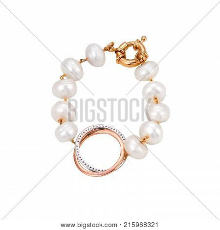 Pearl bracelet in white background. Beautiful acessory.