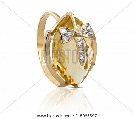 Golden diamond ring isolated on white. Acessory.