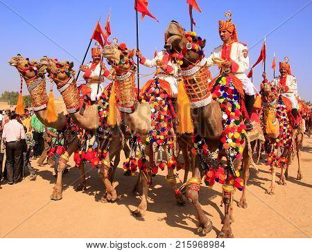 Jaisalmer, India - February 16: Unidentified Men Take Part In Desert Festival On February 16, 2011 I