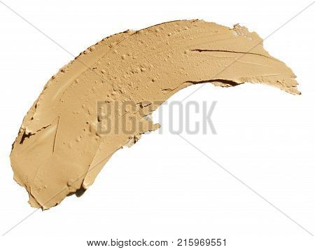 Cosmetic concealer smear strokes isolated on white background tone cream smudged Corrector texture. Make Up.