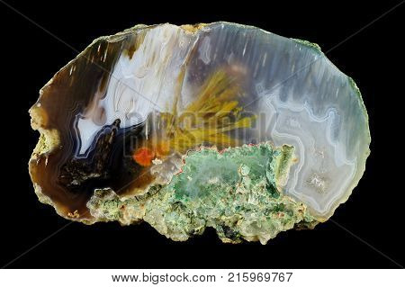 A cross section of the agate stone. Stalactite agate irregularly meshed. Origin: Rudno near Krakow Poland.