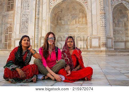 Agra, India-november 9: Unidentified Women Sit Outside Taj Mahal On November 9, 2014 In Agra, India.