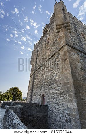 View of the donjon of the Castle of Braganca a medieval fortress located in the historic centre of Braganca Portugal