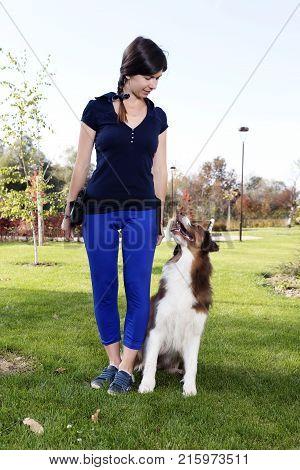 Dog Girl Female Training Professional Handler Park