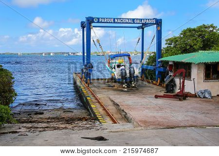 Santa Cruz, Ecuador-april 23: Motorboat In A Sling At Charles Darwin Research Station On Santa Cruz