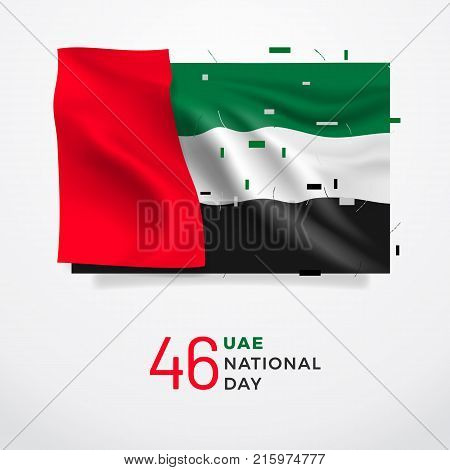 UAE National Day 46. Realistic national flag with folds with geometric objects. Easy to use in your design layout of posters banners postcards flyers.