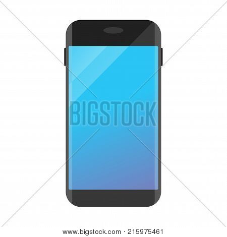 Mobile phone smartphone and cell phone with dark touchscreen. Flat vector cartoon illustration. Objects isolated on transparent background.