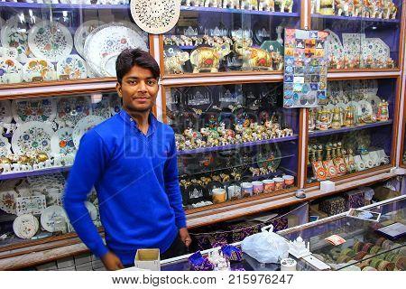 Agra, India - November 10: Unidentified Man Works In A Souvenir Shop In Taj Ganj Neighborhood On Nov