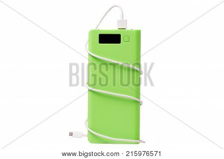 two power bank with usb cable on white background isolation