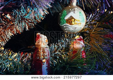 new year postcard with toy and figure in studio quality
