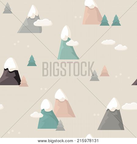 Mountain seamless pattern. Flat style cartoon Mountain with white clouds, trees, snow on the peaks. Vector illustration. Vintage background.