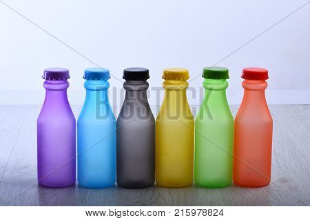 Colorful Paint. Bottles With Colorful Dry Pigments