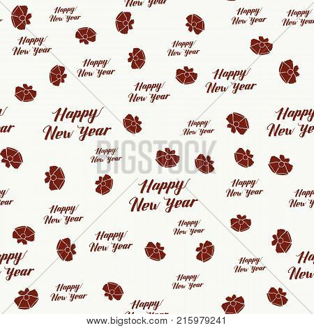 Happy New Year Seamless Hand Drawn Pattern with Lettering and Bells . Red Vector Illustration on White. Handwritten Inscription Backdrop for NY, Christmas Holiday Design, Sale, Banner, Invitation.