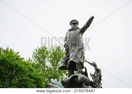 Monument To Admiral Stepan Osipovich Makarov In Kronstadt In The Summer