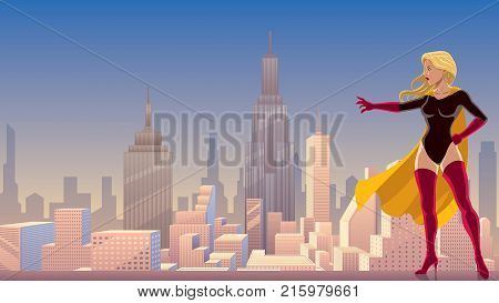Illustration of superheroine using her superpower and directing it with her hand.