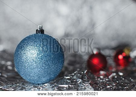 Shiny Silvery And Red Christmas Balls