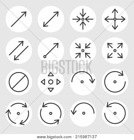 Line arrows and signs vector icons set. Different states, types and directions of the arrows, double arrow, curved, triangle, angled, rotate, cancel and other navigation arrows