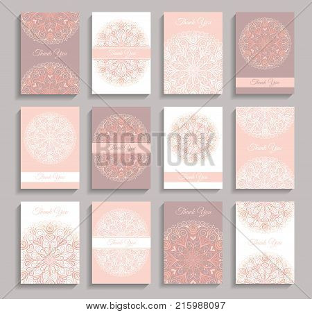 Vector Invitations set. Thank you notes with mandala design. Vintage invite templates 5 to 7 ratio. Intricate round ornaments. Flower greeting cards, wedding elements. Warm pink weave floral pattern.