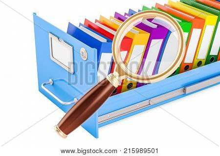File search concept. Folders inside filing cabinet with magnifying glass 3D rendering