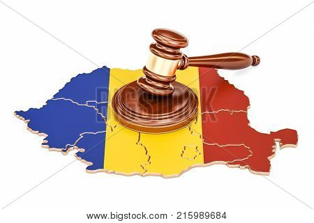 Wooden Gavel on map of Romania 3D rendering isolated on white background