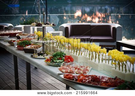 Buffet served table with snacks, fruits, canape, sweets and appetizers.Catering event plate service.Smorgasbord, food choice of breakfast in a restaurant