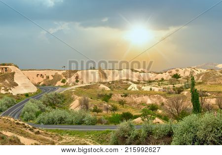 Sunrise In The Volcanic Rock Formations In Cappadocia, Anatolia, Turkey.