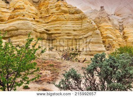 Limestone Sandstone Of Cappadocia, Rocky Mountain Landscape Wall Of Stone Striped, Turkey