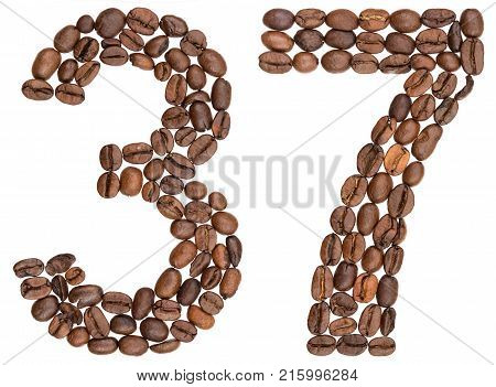 Arabic Numeral 37, Thirty Seven, From Coffee Beans, Isolated On White Background