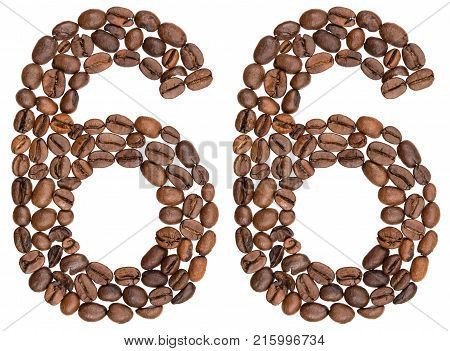 Arabic Numeral 66, Sixty Six, From Coffee Beans, Isolated On White Background