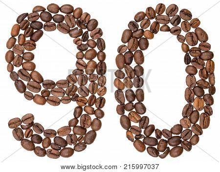 Arabic Numeral 90, Ninety, From Coffee Beans, Isolated On White Background