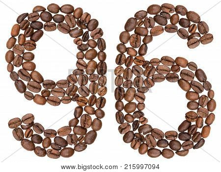 Arabic Numeral 96, Ninety Six, From Coffee Beans, Isolated On White Background