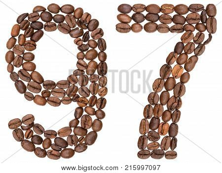 Arabic Numeral 97, Ninety Seven, From Coffee Beans, Isolated On White Background
