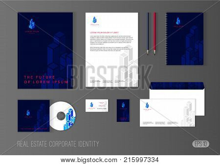 Corporate identity template for real estate company. Modern stationery template design with isometric skyscrapers. Brochure cover, letterhead, envelope, business card, pen, CD cover.