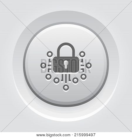Cryptography Icon. Modern computer network technology sign. Digital graphic symbol. Bitcoin Technology. Concept design elements.
