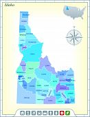Idaho State Map with Community Assistance and Activates Icons Original Illustration poster