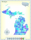 Michigan State Map with Community Assistance and Activates Icons Original Illustration poster